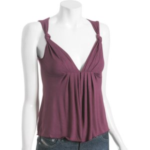 Tufi Duek Pintuck Pleated Sleeveless Top in Wine