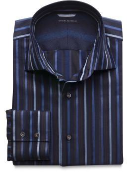Multi Textured-Stripe Premium Barrel Cuff Shirt