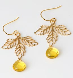 Jenna White Maple Leaf Earrings in Citrine